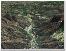 Google Earth 3D Image of the Carter Lodge in Hickory Nut Gorge.