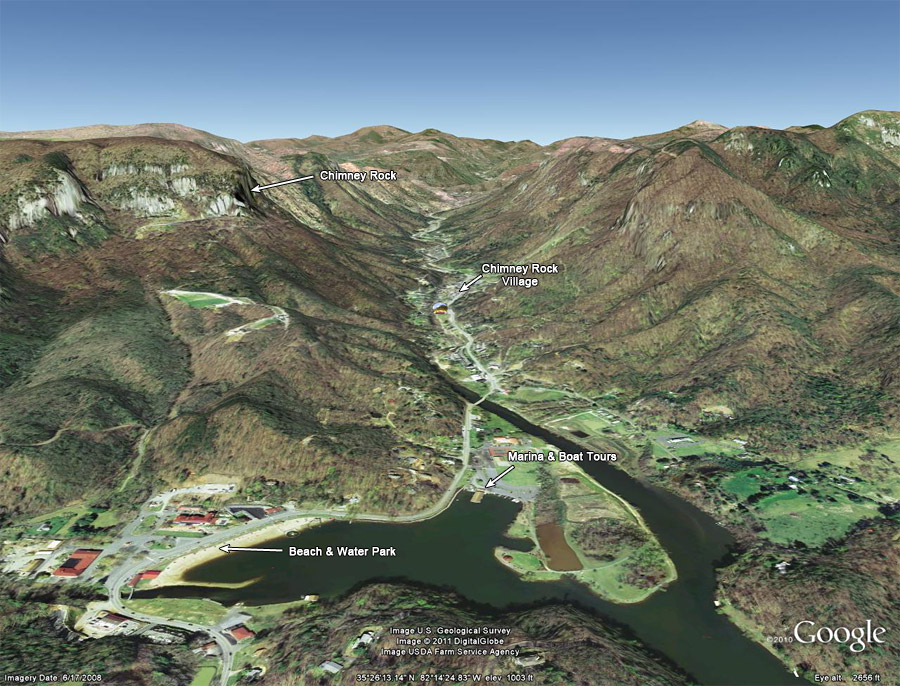 Google Earth 3d Image Of The Carter Lodge In Hickory Nut Gorge